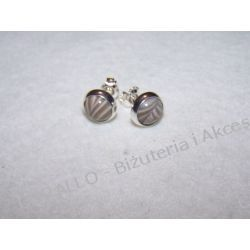 KRZEMIEŃ PASIASTY - KOLCZYKI WKRĘTKI(100) Biżuteria i Zegarki