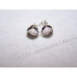 KRZEMIEŃ PASIASTY - KOLCZYKI WKRĘTKI(97) Biżuteria i Zegarki