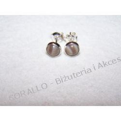 KRZEMIEŃ PASIASTY - KOLCZYKI WKRĘTKI(75) Biżuteria i Zegarki