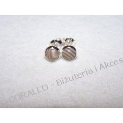 KRZEMIEŃ PASIASTY - KOLCZYKI WKRĘTKI(76) Biżuteria i Zegarki