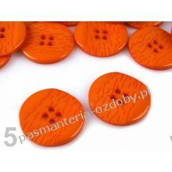 """Guziki CR rozmiar 40"""" (25,4mm)pomarańcz. 1szt Drewniane"""
