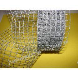 WSTĄŻKA SIATKA METALIZOWANA SREBRNA HURT (10m) Szklane zwykłe