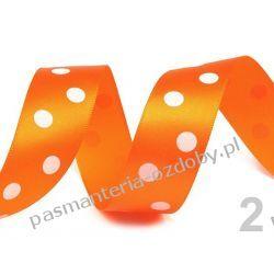 Taśma satyna /atłas duże grochy 22mm/HURT 19,5m - pomarańczowy Nieskategoryzowane