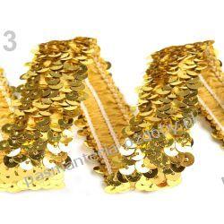 TAŚMA CEKINOWA ELASTYCZNA / CEKINY szer.30mm /0,5m  - złoty Druty, szydełka i czółenka