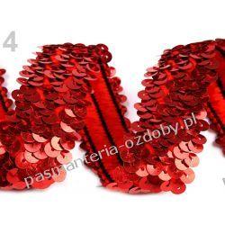 TAŚMA CEKINOWA ELASTYCZNA/CEKINY 45mm /0,5m - czerwony Nici