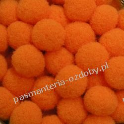 POMPONY, POMPONIKI OZDOBNE małe 1cm / 1 szt - ciemny pomarańczowy Nici