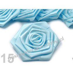 RÓŻYCZKI, DUŻE RÓŻE ATŁASOWE średn. 7cm - błękitny Nici
