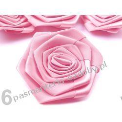 RÓŻYCZKI, DUŻE RÓŻE ATŁASOWE średn. 7cm - różowy Włóczki