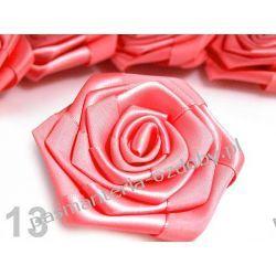 RÓŻYCZKI, DUŻE RÓŻE ATŁASOWE średn. 7cm - łososiowy róż Szklane zwykłe