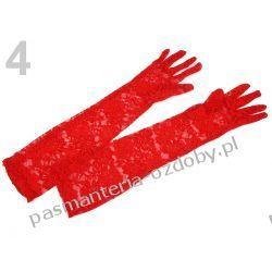 RĘKAWICE WIECZOROWE dł. 43cm KORONKOWE - czerwone Przebrania, kostiumy, maski