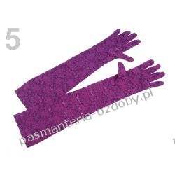 RĘKAWICE WIECZOROWE dł. 43cm KORONKOWE - fioletowe Przebrania, kostiumy, maski