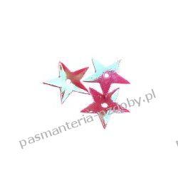 CEKINY TĘCZOWE GWIAZDKI 13mm 4g (ok 170szt.) - różowe Szklane zwykłe