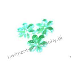 CEKINY TĘCZOWE KWIATKI 15mm 5g (ok.90szt) - zielone Drewniane