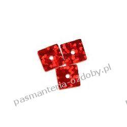 CEKINY LASEROWE KWADRATY 7x7mm 6g (ok 310szt) - czerwony Włóczki