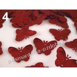 CEKINY MOTYLE MOTYLKI 18x22mm 4g (ok.37szt) - czerwony Koraliki i cekiny