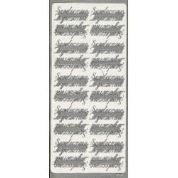 STICKERSY NAKLEJKI - napis SERDECZNE ŻYCZENIA srebrny Akrylowe