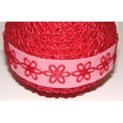 APLIKACJE-KWIATKI AŻUROWE DUŻE - kolor czerwony 0,5m Zapięcia i karabińczyki