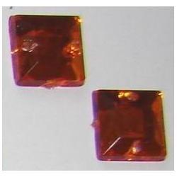 DŻETY kamienie kwadraty do przyszycia 8mm KOLOR POMARAŃCZOWY Nici