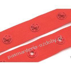 NAPY  ZATRZASKI NA TAŚMIE szer 18mm / 0,5m czerwony
