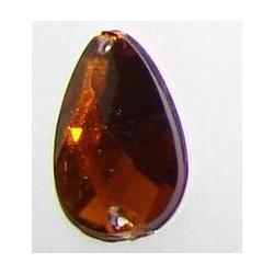 DŻETY kamienie krople do przyszycia 13x8mm kolor ciemny brąz Akrylowe