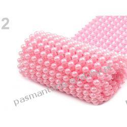 Taśma szerokość 58 mm z perełkami 0,5m - różowa Akrylowe