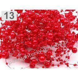 Perełki  na żyłce silikonowej  dł.130cm - czerwony