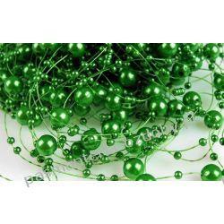 Perełki  na żyłce silikonowej  dł.130cm - zielony