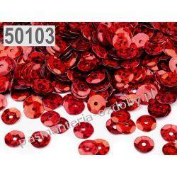 CEKINY KOŁA ŁAMANE LASEROWE 6mm 6g (ok 500szt) - czerwony Włóczki