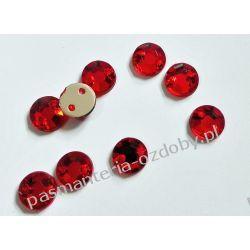 DŻETY kamienie okrągłe do przyszycia 6mm - czerwony Crackle