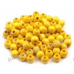 Koraliki drewniane Ø10 mm - żółty Pozostałe