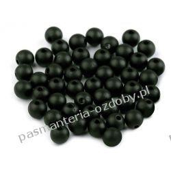 Koraliki plastikowe matowe Ø8 mm - czarny Biżuteria - półprodukty
