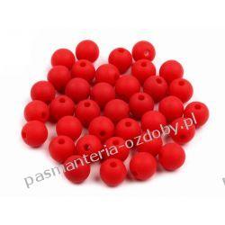 Koraliki plastikowe matowe Ø8 mm - czerwony Nici