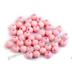 Koraliki plastikowe matowe Ø8 mm - różowy Biżuteria - półprodukty