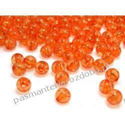 Koraliki plastikowe crackle Ø8 mm - pomarańczowy Nici