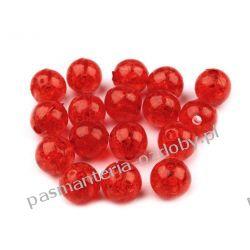 Koraliki plastikowe crackle Ø10 mm - czerwony