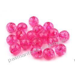 Koraliki plastikowe crackle Ø10 mm - różowe