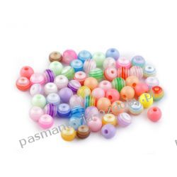 Koraliki plastikowe w paski Ø6 mm - kolorowe Biżuteria - półprodukty