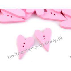 Guzik drewniany serce różowe Koraliki i cekiny