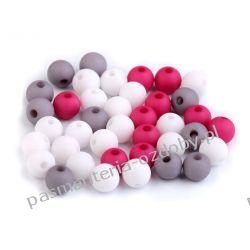 Koraliki plastikowe matowe Ø8 mm - mix (biały, szary, ciemny roż)