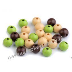 Koraliki drewniane Ø10 mm - mix (brązowy, zielony, krem)