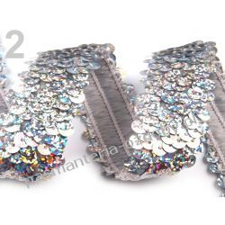 TAŚMA CEKINOWA ELASTYCZNA/CEKINY 45mm /0,5m - srebrny hologram Dodatki i ozdoby