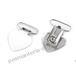 Zapięcie do szelek - serce - szerokość 25 mm - biały Crackle