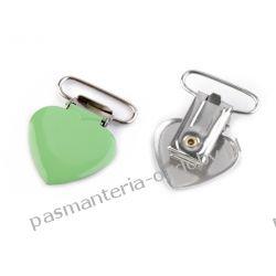 Zapięcie do szelek - serce - szerokość 25 mm - zielony Guziki