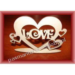 Walentynki SERCE na podstawce LOVE  Rękodzieło
