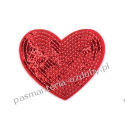 Naprasowanka serce z cekinami - czerwone Crackle