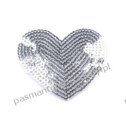 Naprasowanka serce z cekinami - srebrne Nici