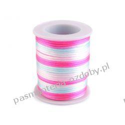 Sznurek satynowy Ø2mm - multikolor - biało-różowo-błękitny Rękodzieło