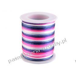 Sznurek satynowy Ø2mm - multikolor - biało-różowo-granatowy Biżuteria - półprodukty