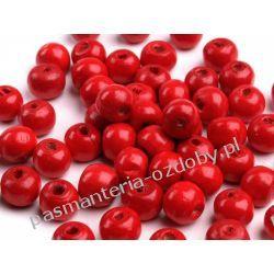 Koraliki drewniane Ø8-9 mm - czerwony Drewniane