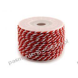Sznurek skręcany Ø2 mm biało-czerwony 1m Biżuteria - półprodukty